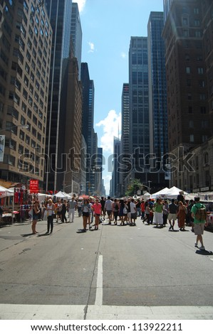 NEW YORK, USA - AUGUST 18: the annual Great Irish Festival held on 6th Avenue with food and craft stalls in New York City on August 18, 2012, Avenue of the Americas, NYC, USA.