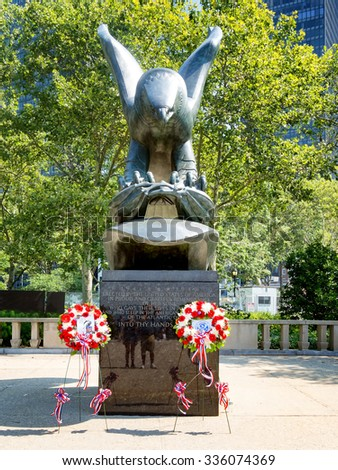 NEW YORK,USA - AUGUST 16,2015 : The East Coast Memorial at Battery Park in New York City