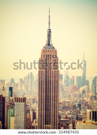 NEW YORK,USA- AUGUST 15,2015 : The Empire State Building and the city of New York - stock photo