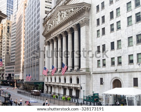 NEW YORK,USA - AUGUST 15,2015 : The New York Stock Exchange in Manhattan Financial District - stock photo