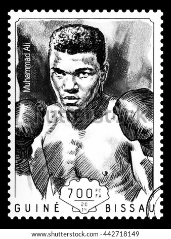 NEW YORK, USA - CIRCA 2016: A postage stamp printed in Guinea Bissau showing Muhammad Ali, circa 2014 - stock photo