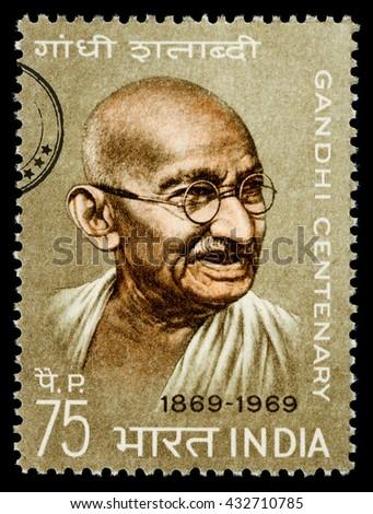 NEW YORK, USA - CIRCA 2010: A postage stamp printed in India showing Mohandas Karamchand Gandhi, circa 1970 - stock photo