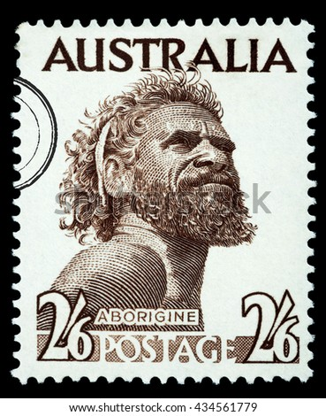 NEW YORK, USA - CIRCA 2010: A postage stamp printed in the Australia showing an Aborigine Man, circa 1970 - stock photo