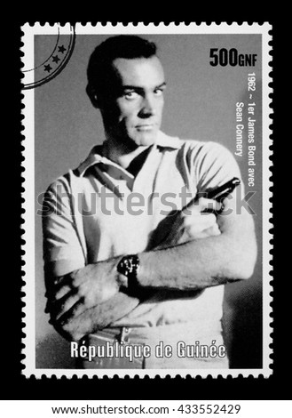 NEW YORK, USA - CIRCA 2010: A postage stamp printed in the Republic of Guinea showing James Bond, circa 2003 - stock photo