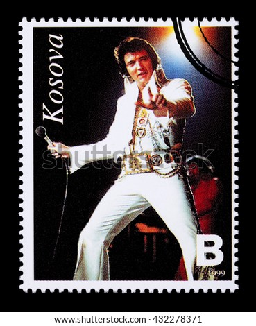 NEW YORK, USA - CIRCA 2010: A postage stamp printed in the Republic Of Kosovo showing Elvis Presley, circa 1999 - stock photo