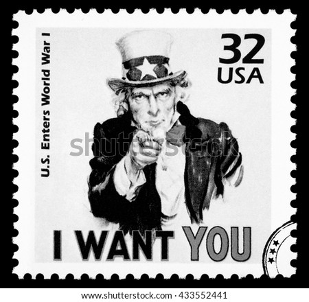 NEW YORK, USA - CIRCA 2010: A postage stamp printed in the USA showing Uncle Sam, circa 1985 - stock photo