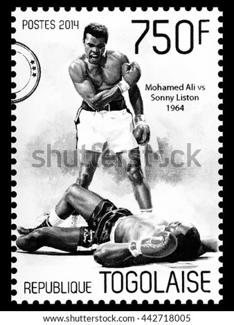 NEW YORK, USA - CIRCA 2016: A postage stamp printed in Togo showing Muhammad Ali, circa 2014