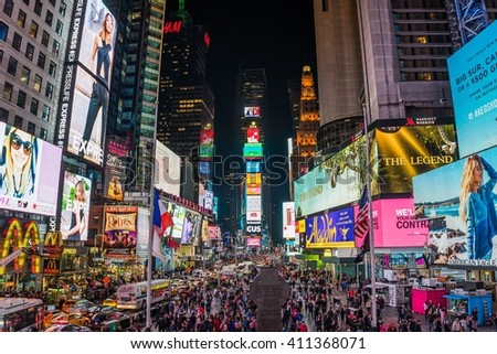 new York, USA - Circa March 2016 - visiting the Times Square - stock photo
