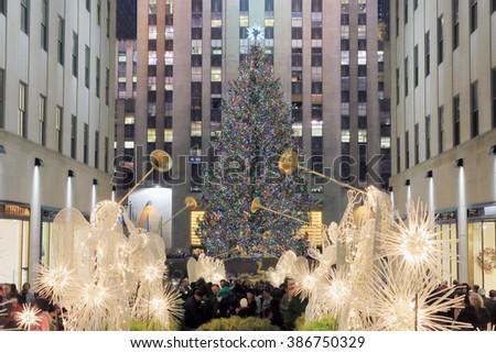 NEW YORK, USA-DEC 4: Christmas Tree at Rockefeller Center, December 4,2012 - stock photo