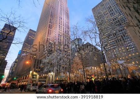 NEW YORK, USA-DEC 26: Christmas Tree at Rockefeller Center, December 26,2013 - stock photo
