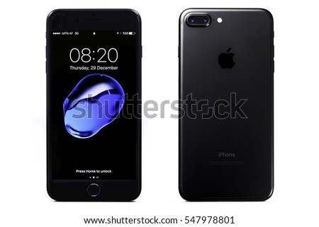 iphone 7 plus black front. new york, usa - december 28, 2016: brand black apple iphone 7 iphone plus front s