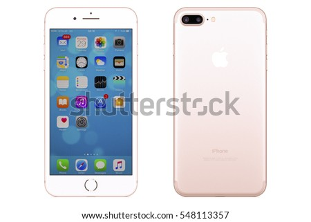 iphone 7 gold front. new york, usa - december 28, 2016: brand rose gold apple iphone iphone 7 front