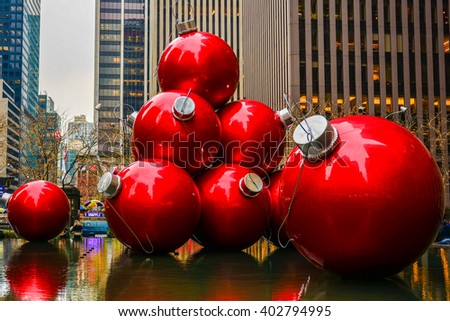NEW YORK , USA - DECEMBER 30, 2015 - christmas decorations in the center of new york - stock photo