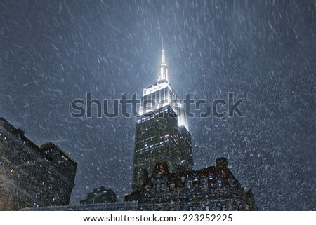 New York, USA - December 08, 2013: Chrysler Building in New York. The Chrysler Building is an Art Deco style skyscraper in New York City, located on the east side of Manhattan. Nightshot with snow - stock photo