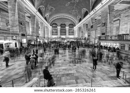 NEW YORK - USA - 11 DECEMBER 2011 Interior of Grand Central station full of people in black and white - stock photo