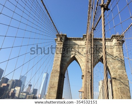 New York, USA â?? December 10, 2015: Sunny day on famous Brooklyn bridge in New York City. Manhattan view. Mobile photo.