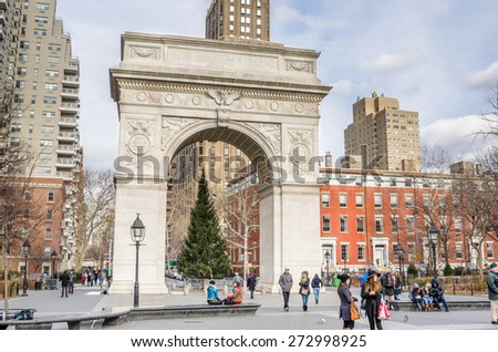 New York, USA - December 30, 2014: The south face of Washington Square Arch. It was built in 1892 in Washington Square Park to celebrate the centennial of Washington's inauguration as President. - stock photo