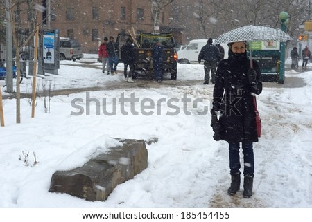 NEW YORK, USA - FEB 15:New York bore the brunt of bad weather in February snow storms with roads, cars and public transport severely stressed on  FEBRUARY 15, 2014 in NEW YORK, USA