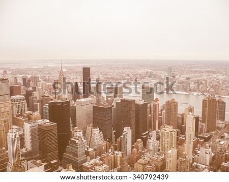 NEW YORK, USA - FEBRUARY 14, 2015: Aerial view of Manhattan vintage look
