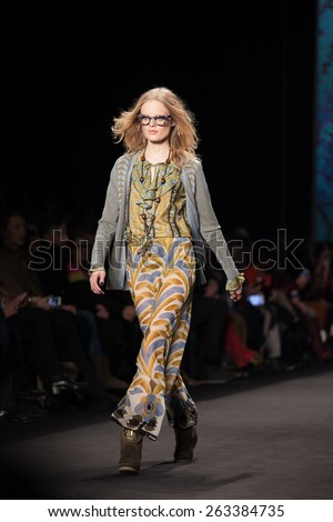 New York, USA - February 18, 2015: Anna Sui Runway Show at Lincoln Center for Mercedes Benz Fashion week Showing her Fall / Winter Collection for 2015