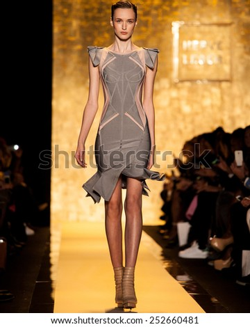 New York, USA - February 14, 2015: Herve Leger by Max Azria at Lincoln Center for Mercedes Benz Fashion week Showing his Fall / Winter Collection for 2015 - stock photo