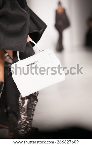 New York, USA - February 17, 2015: Michael Costello Runway at Lincoln Center for Mercedes Benz Fashion week Showing his Fall / Winter Collection for 2015