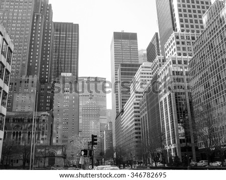 NEW YORK, USA - FEBRUARY 15, 2015: Park Avenue is a wide city boulevard in the borough of Manhattan in black and white