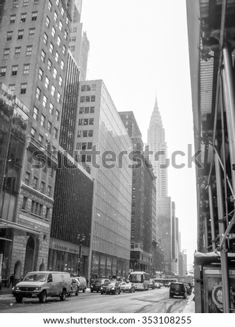 NEW YORK, USA - FEBRUARY 17, 2015: The Crysler Builing in Lexington Avenue was the highest building at the time of construction in 1930 in black and white