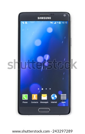 New York, USA - January 11, 2015: Studio shot of a black Samsung Galaxy Note 4 smartphone.