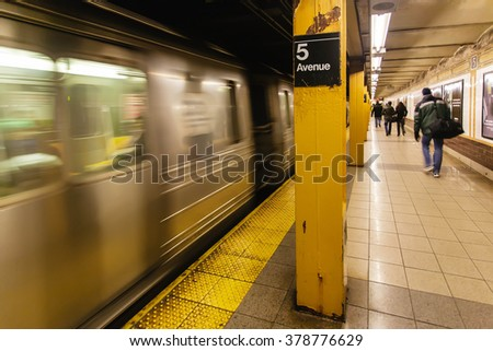 New York,USA - JANUARY 1,2009 : Subway Station at Fifth Avenue in New York City,USA on January 1,2009