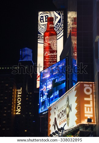 NEW YORK,USA-JULY 5,2015: Budweiser and other ads in Times Square in New York City night scenes.The tourist landmark is visited by about 50 million tourists every year  - stock photo