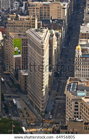 NEW YORK, USA - JULY 11: Facade of the Flatiron building late afternoon in sun on July 11,2010 in New York, USA.
