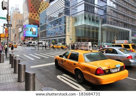 NEW YORK, USA - JULY 1, 2013: People walk along 8th Avenue in New York. Almost 19 million people live in New York City metropolitan area. - stock photo