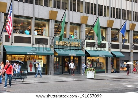 NEW YORK, USA - JULY 1, 2013: People walk past Barnes and Noble headquarters bookstore at 5th Avenue in New York. BN bookstore business dates back to 1917. The company employs 30,000 people. - stock photo