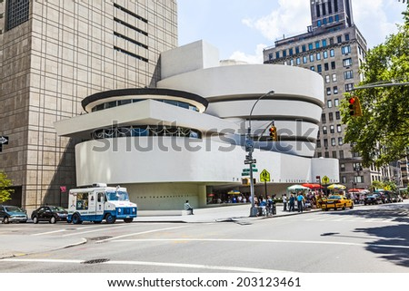 NEW YORK, USA - JULY 7, 2011: The Solomon R. Guggenheim Museum of modern and contemporary art in New York, USA. Designed by Frank Lloyd Wright museum opened on October 21,1959. - stock photo