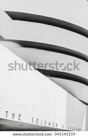 NEW YORK, USA - JULY 7, 2011: The Solomon R. Guggenheim Museum of modern and contemporary art in New York, USA. Designed by Frank Lloyd Wright museum opened on October 21, 1959. - stock photo