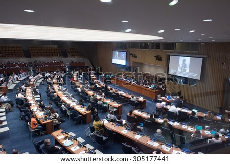 NEW YORK - USA - 11 JUNE 2015 a discussion at the united nation building - stock photo