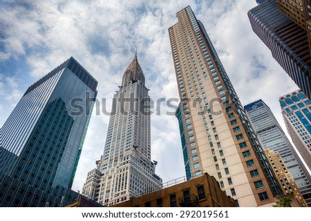 NEW YORK - USA - 11 JUNE 2015 chrysler building on cloudy day - stock photo
