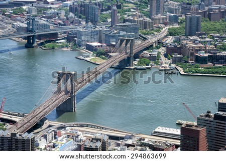 NEW YORK - USA - 13 JUNE 2015 city view from highest in the city freedom tower - stock photo