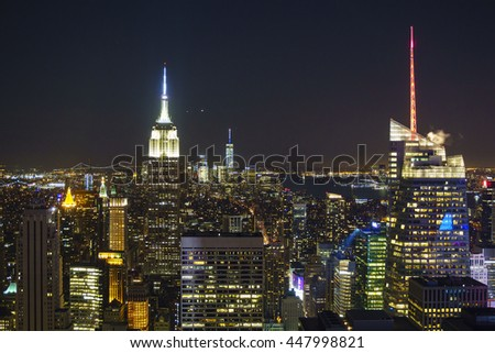 NEW YORK - USA, JUNE 21 2016: New York City Manhattan, panorama aerial view at night.