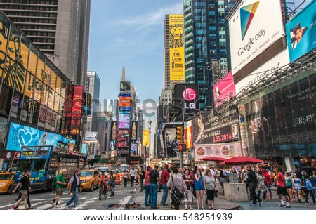 New York, USA - June 12, 2014: Times Square view, the main square of the City of New York