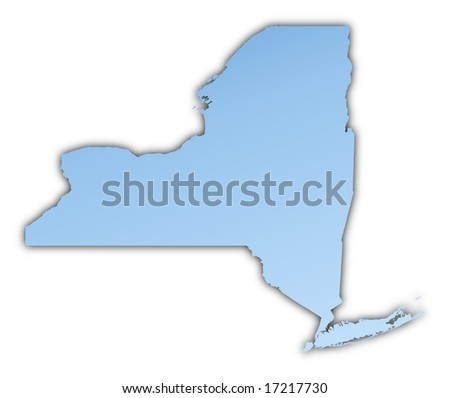 New York Usa Map Light Blue Map With Shadow High Resolution Mercator
