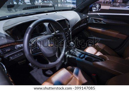 NEW YORK, USA - MARCH 23, 2016: Cadillac ATS interior on display during the New York International Auto Show at the Jacob Javits Center. - stock photo