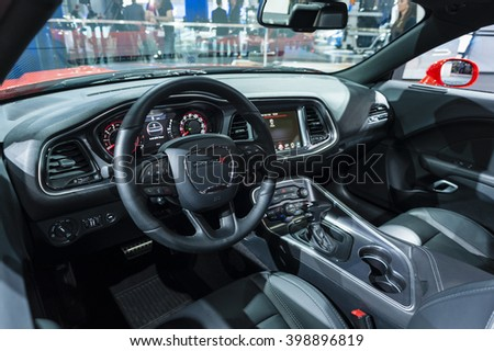 NEW YORK, USA - MARCH 23, 2016: Dodge Challenger interior on display during the New York International Auto Show at the Jacob Javits Center. - stock photo