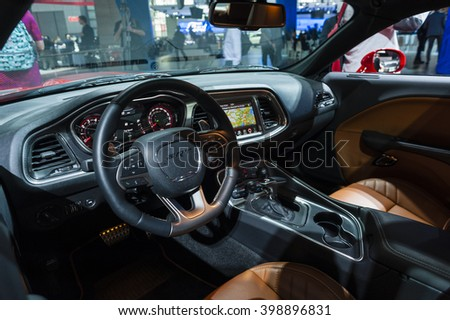 NEW YORK, USA - MARCH 23, 2016: Dodge Challenger SRT Hellcat interior on display during the New York International Auto Show at the Jacob Javits Center.