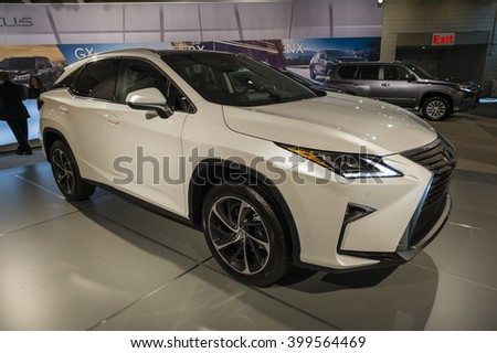 NEW YORK, USA - MARCH 24, 2016: Lexus RX350 on display during the New York International Auto Show at the Jacob Javits Center.