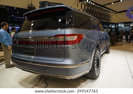 NEW YORK, USA - MARCH 23, 2016: Lincoln Navigator concept on display during the New York International Auto Show at the Jacob Javits Center.