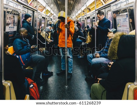 New York, Usa - March 18 2017: Passengers riding in the NYC Subway in the rush hour.