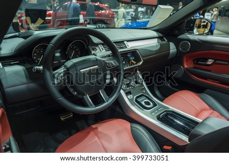 NEW YORK, USA - MARCH 24, 2016: Range Rover Evoque convertible interior on display during the New York International Auto Show at the Jacob Javits Center. - stock photo