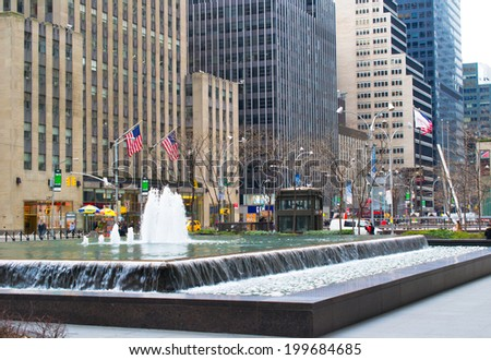 NEW YORK, USA - MARCH 26: Rockefeller Center is a complex of 19 commercial buildings, built by the Rockefeller family, located in Midtown Manhattan in the USA on March 26, 2014 in New York, USA - stock photo